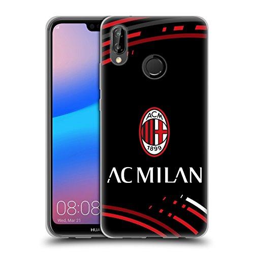 Head Case Designs Ufficiale AC Milan Curvato Stemma Modelli Cover in Morbido Gel Compatibile con Huawei P20 Lite