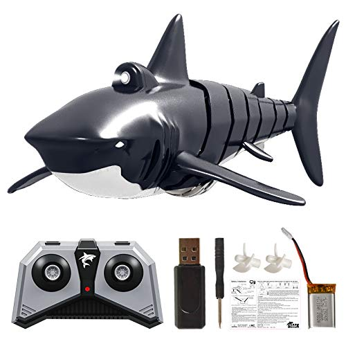 CC-cooL Mini Remote Control Boat, RC Cute Shark Swim in Water 2.4G Simulation Remote Control Shark Boat Toy Pool Bathroom 4 Channels Free Swimming Waterproof Protection(Shark Boat)