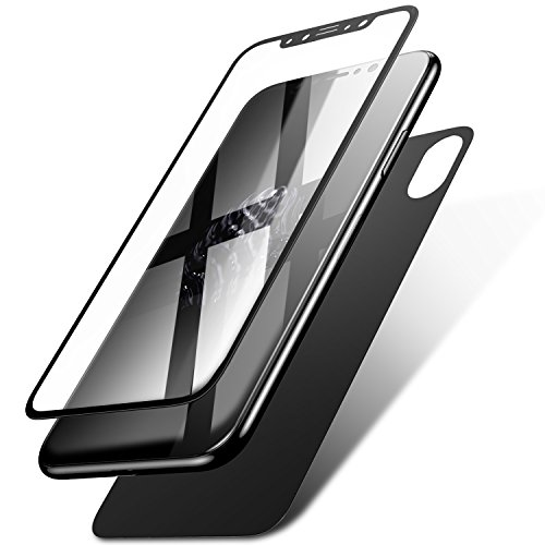iPhone X Screen Protector, KuGi [ Front & Back Glass film suit ] Ultra-thin Toughened 9H Hardness HD Clear & Premium Full coverage Tempered Glass Screen protector for iphone x edition. (Black)