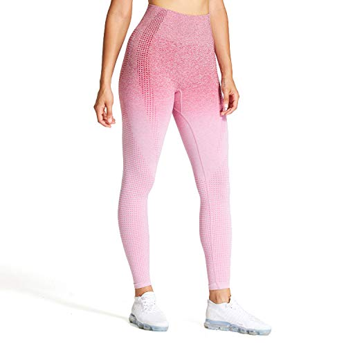 Aoxjox Women's High Waist Workout Gym Vital Seamless Leggings Yoga Pants (Dark Pink/Pink, Medium) (Apparel)