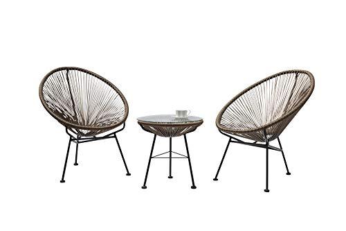 The Curled Angle modern - tuinstoelen - set van 2, retro design stoel, bruin - acapulco - ergonomische stoel wit, grijs - Chill Scandinavische rugleuning - eetkamer stoelen barok stijl - barok sfeer voor de woonkamer bruin