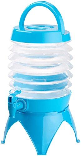 PEARL Faltbarer Wasserspender: Faltbares Fässchen, Auslaufhahn, Ständer, 3,5 Liter, blau/transparent (Wasserkanister für Wasserspender)