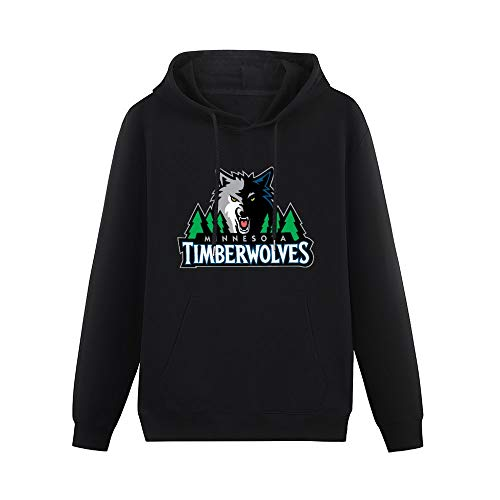 Pocket Sweater Show Time Minnesota Logo Timberwolves Vintage Printed Pullover Black L Hoodie