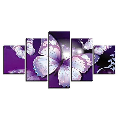 QZWXEC Kunstdrucke, Leinwanddrucke Modern HD Printed Landscape Pictures 5 Panel Animal Butterflies Canvas Painting Wall Art Home Decor Framework for Living Room