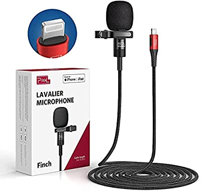Pixel Voice Professional-Grade Wearable Lavalier Lapel Microphone Compatible with IPhone/IPad (Apple MFi-Certified) Omnidirectional Mic for Video Recording Livestream Vlog YouTube Facebook (9.8ft)