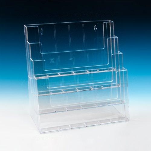 taymar® Tisch-Prospektständer XXL, Tribüne, diverse DIN-Formate, 4 Etagen, Transparent