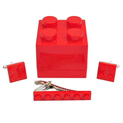 Manschettenknöpfe und Krawattenklammer, handgefertigt, von Lego® Teller (rot), für Hochzeit, Bräutigam, Geburtstag, Herren, Geschenkbox, Geschenk