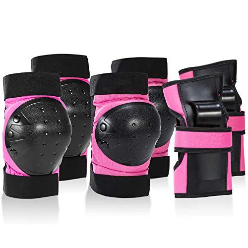 IPSXP Protektoren Set, Schoner Schutzausrüstung Set mit Ellbogenschützer Knieschützer Armbänder für Kinder und Erwachsene Skater, Rollerblading, Skateboard, Roller, Fahrradfahren (M)