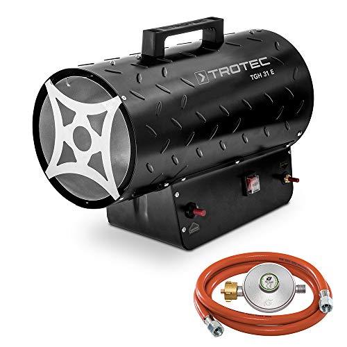 TROTEC Gasheizgebläse TGH 31 E Gas Heizgerät inkl Verbindungschlauch und Druckminderer Heizleistung bis 30 kW, 1000 m³/h Luftdurchsatz, für handelsübliche Gasflaschen, Piezozündung