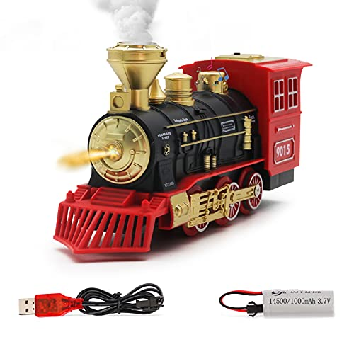 Hot Bee Electric Toys Train Steam Locomotive Engine - USB Charging Electric Train Engine Toy w/ a Rechargeable Battery,Smoke, Lights & Sounds, Best Gifts for Kids Age 3 and Up
