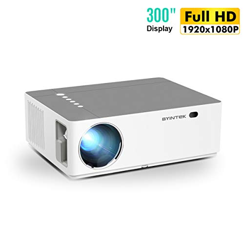 Aibecy BYINTEK K20 Proyector de video de video básico 1080P Proyector Full HD 500 lúmenes ANSI Compatible con PC Laptop U disco TV Box HD DVD PS4 para Home Theater Office Entertainment