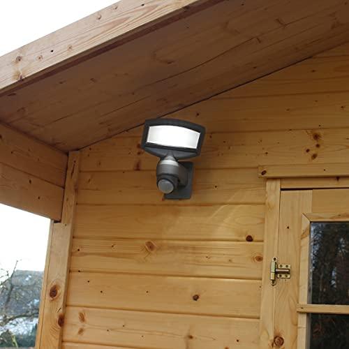CGC - Lámpara de pared solar LED gris con sensor de movimiento PIR gris oscuro antracita jardín porche patio al aire libre cobertizo lámpara moderna nueva delgada
