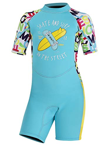 DIVE & SAIL Shorty Wetsuits for Kids One Piece Diving Suit Warm Swimsuit UV Protection Printed 2.5MM Swimwear Blue