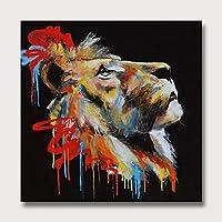 油絵手描き、ライオン抽象動物壁アート、写真アートワークを掛ける準備ができて子供の家の装飾のためのリビングルームの壁の装飾