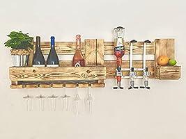 Weinregal/Wandbar aus Paletten Holz mit Dosierspender, Flaschenhalter, Getränkespender, Barregal, Schnapsregal, Minibar