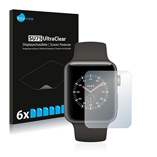 Savvies 6X Schutzfolie kompatibel mit Apple Watch Edition Series 3 (42 mm) Bildschirmschutz-Folie Ultra-transparent