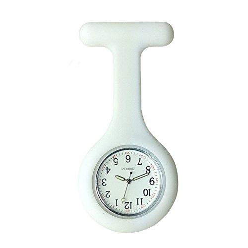 Reloj para enfermeros con broche, hecho de silicona de alta calidad con pasador/clip y diseño con control de infecciones, brilla en la oscuridad, blanco