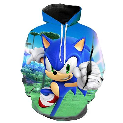 Yuanou Pullover 3D Sonic Hedgehog for Children/Unisex/Adolescence (9,L)