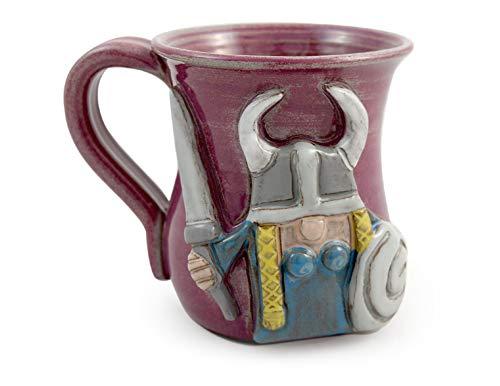 American Made Stoneware Pottery - Sculpted Viking Woman Coffee Mug