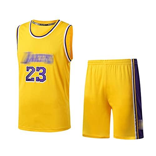 PPDD Jersey de Baloncesto 23# jǎměs Camisetas para Hombres Ropa técnica Profesional Atleta Capacitación Temporada Temporada Uniforme Traje de Entrenamiento, Todos los dí Yellow-L