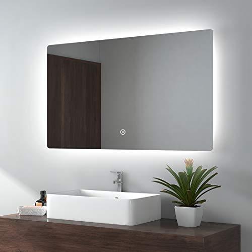 EMKE LED Badspiegel Badezimmerspiegel mit Beleuchtung Warmweissen Lichtspiegel Wandspiegel … (Typ L, 100x60cm Touchschalter + beschlagfrei)