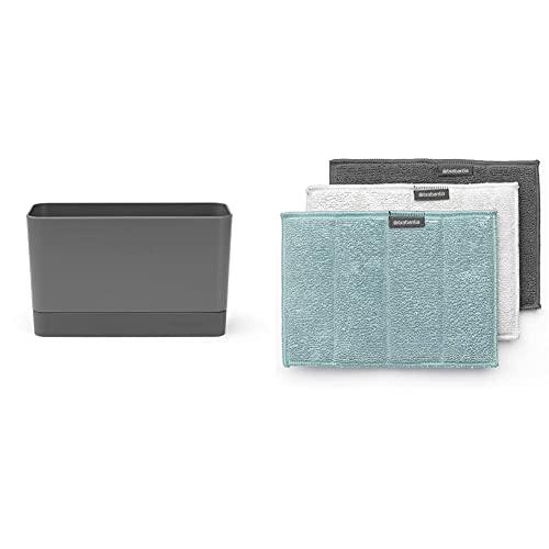 Brabantia Spülorganizer, Kunststoff/Silikon, Dunkelgrau, 19 x 8.5 x 11.5 cm & Mikrofaser (3er Set) Reinigungstuch, Mehrfarbig (Dark Grey, Light Grey, Mint), 16 x 22 cm