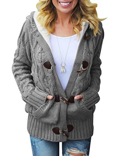LANREMON Women Cardigan Sweaters Fleece Cable Knit Sweater Button up Soft Coat Winter Outwear with Pockets