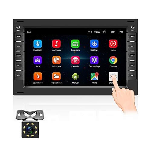 OiLiehu Doppel Din Android Auto Radio Bluetooth Mit Navi FüR Vw 7 Zoll Touchscreen Autoradio UnterstüTzt WiFi/GPS/USB/DAB/OBD/Lenkradsteuerung/Mirror Link + Rueckfahrkamera, FüR Polo Passat Golf