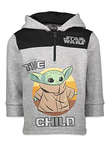 Star Wars The Mandalorian Baby Yoda Big Boys Fleece Half Zip Pullover Hoodie Gray 14-16