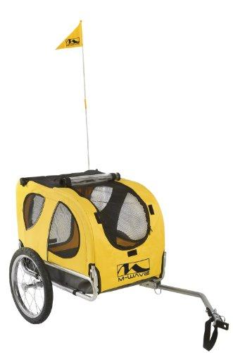 M-Wave PET Ride Hundefahrradanhänger, Silber/Gelb, 43.5 x 68 x 51.5 cm
