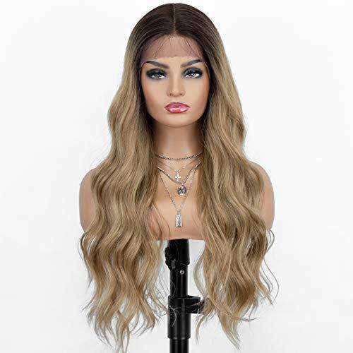 Kryssma Ombre Blonde Lace-Front-Perücke mit L-tiefem Scheitel, lang, gewellt, synthetische Perücken für Frauen, blond, gelockt, hitzebeständig, 61 cm