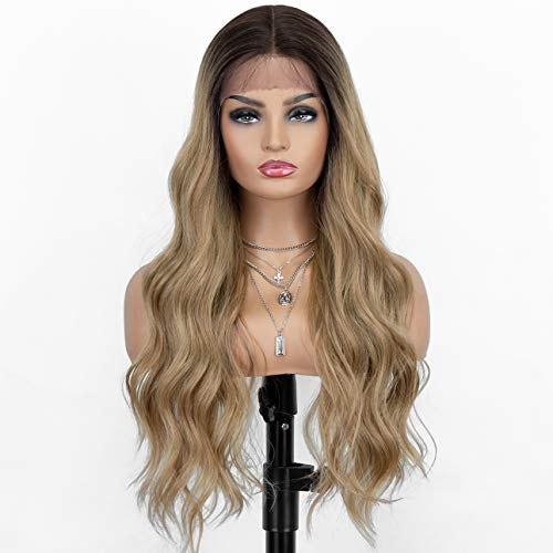 K'ryssma Ombre Blonde Lace Front Wig T Part Long Wavy Wig with Middle Part Synthetic Wigs for Women 22 Inches