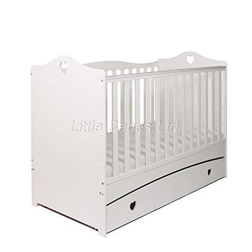 New Little Babes Ltd Sweet Love Heart IMOGEN White Baby Cot Bed & Drawer +...
