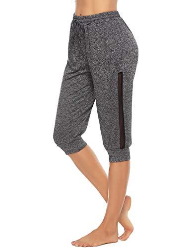 Doaraha Damen Sporthose 3/4 Shorts Trainingshose Elegant Jogginghose Relax-Caprihose Yogahose mit Mesh-Einsätzen für Urlaub Sport und Freizeit, Dunkelgrau, L