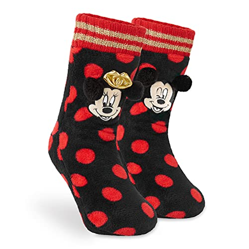 Disney Chausson Chaussette Femme, Chaussettes Antidérapantes Fantaisie, Idée Cadeau Femme Fille Ado Mickey Minnie Mouse