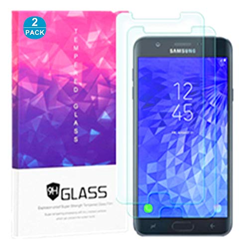 Samsung Galaxy J7 2018/J7 Aero/J7 Top/J7 Refine/J7 Star/J7 Eon/J7 Crown/J7 Aura Tempered Glass Screen Protector, FOLICE 9H Anti Scratch Anti-Fingerprint Bubble Free HD Clear Screen Protector (2 PACK)