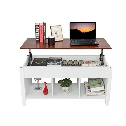 Lifting Coffee Table with Concealed Compartments and Shelves, Simple and Modern Style Lifting Living Room Dining Table, Used for Living Room Reception Area, White and Light Brown