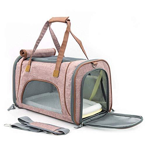 LIRUI Pet hondenmand hond transportbox opvouwbare stof hondenmand kussen hengsel draagtas; 47x27x28 cm roze