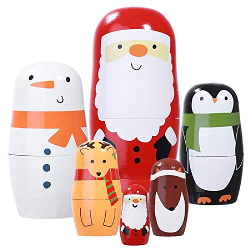 Konrisa Santa Claus Nesting Dolls Russian Matryoshka Hand Painted Figurine Wooden Stacking Dolls Educational Toys for Kids Party Home Decoration,Set of 6