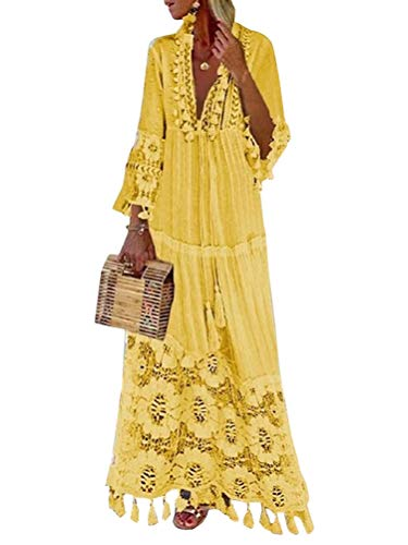 Minetom Langes Kleid Damen 3/4 Ärmel Floral Spitzenkleid V-Ausschnitt Strandkleid Boho Vintage Party Maxikleid Cocktailkleid Gelb 48