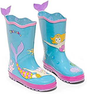 Kidorable Blue Mermaid Natural Rubber Rain Boots w/Fun Fishtail Pull On Heel Tab