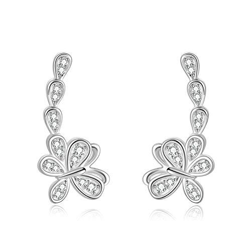 WINNICACA Schmetterling Bergsteiger Ohrringe Sterling Silber Zirkonia Ohr Ohrringe Schmuck Geschenke für Frauen