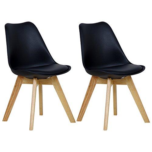 WOLTU BH29sz-2 2 x Esszimmerstühle 2er Set Esszimmerstuhl Design Stuhl Küchenstuhl Holz, Schwarz