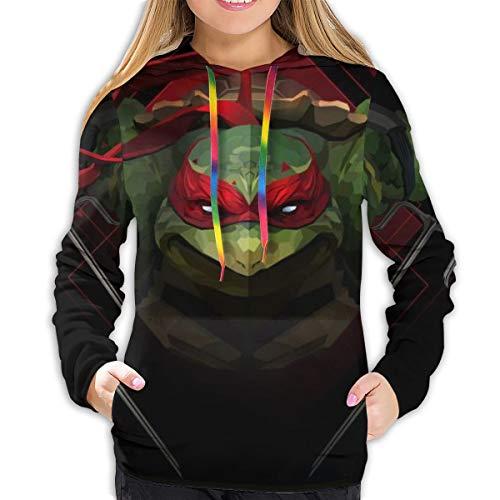 Teenage Mutant Ninja Turtles Hoodies Damen Sweatshirt Pullover 3D Print Casual Jacke Mädchen Hoodie Tops Gr. L, Schwarz