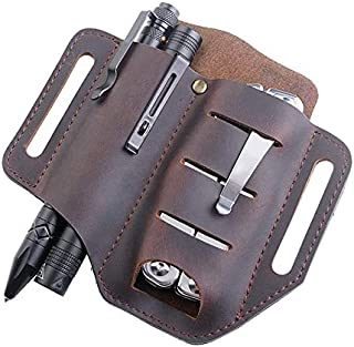 SNOWINSPRING Pocket EDC Organizer Leather Slip Sheath with 2 Pockets for Knife/Tool/Flashlight/Pen &EDC Gears Pocket