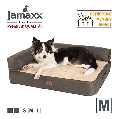 JAMAXX Premium 2-in-1 Hunde-Sofa - Orthopädisch Memory Visco, Abnehmbare Polster, Abnehmbarer Bezug Waschbar, Weiches Fleece oder Lammfell/Sherpa, PDB3014 (M) 90x70 braun+Sand Fleece