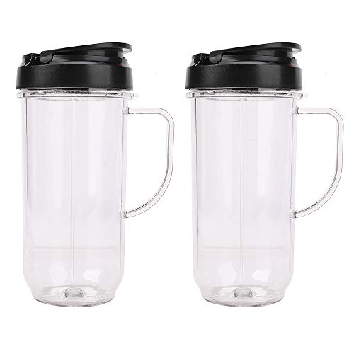 2 Pack Tall 22oz Cup with Flip Top To-Go Lid Replacement Part Cup Mug with handle Compatible with 250w Magic Bullet Mugs & Cups Blender Juicer Mixer
