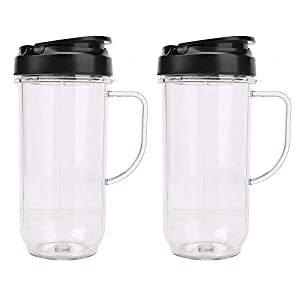 2 Pack Tall 22oz Cup with Flip Top To-Go Lid Replacement Part Cup Mug with handle Compatible with 250w MB1001 Magic… |