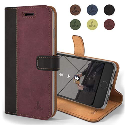 Snakehive Hülle kompatibel für iPhone 8 / Handy Schutzhülle/Klapphülle echt Lederhülle mit Standfunktion, Handmade in Europa - (Schwarz/Pflaume)