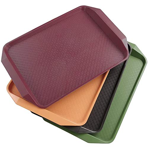 Pack Of 4 Plastic Food Lap Serving Trays